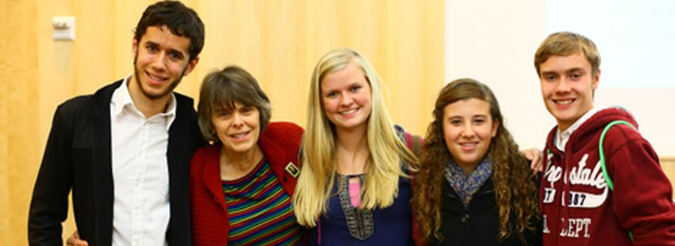 Mary Beth Tinker meets staff members of the Noctiluca newspaper: Sam Allen, Caroline Duncombe, Abigail Plankey and Paul Schaefer. Their adviser, Aaron Ramponi, teaches at Appleton North High School.